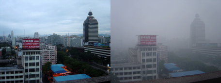 Beijing on a day after rain and a sunny but polluted day.